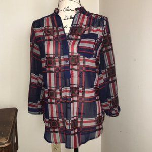 Plaid Red Blue Black Tunic Blouse Top Size Small